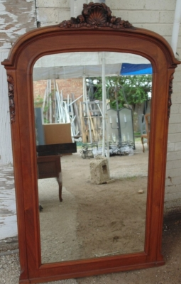 14D02020 LOUIS XV FLOPRAL CARVED ARCH TOP MIRROR