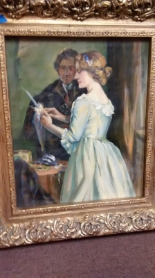 15E12034  LARGE NOT OLD OIL PAINTING OF A COUPLE IN GOLD FRAME.jpg