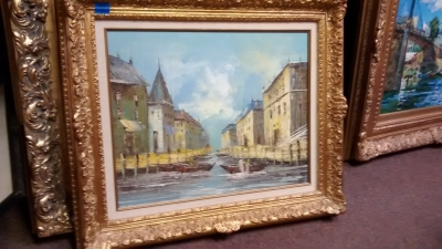 15E12035  NOT OLD OIL PAINTING OF VENTETIAN CANAL.jpg