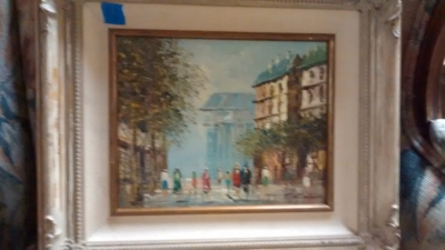 15E12039 PARIS STREET SCENE SMALL OIL PAINTING ON CANVAS.jpg