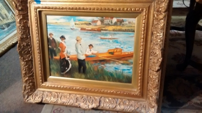 15E12040 MEDIUM OIL PAINTING OF BOATERS (2).jpg