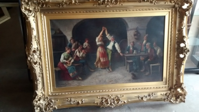 15E19023 EARLY PAINTING OF DANCERS IN ORNATE FRAME (1).jpg