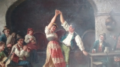 15E19023 EARLY PAINTING OF DANCERS IN ORNATE FRAME (2).jpg