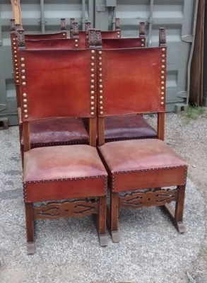 15E19031 SET OF 6 SPANISH LEATHER WITH STUD TRIM CHAIRS (1).jpg