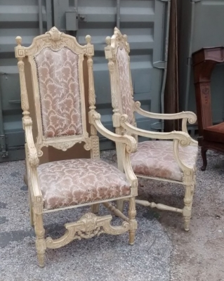 15E19034 PAIR OF PAINTED WHITE TALL BACK CHAIRS (1).jpg