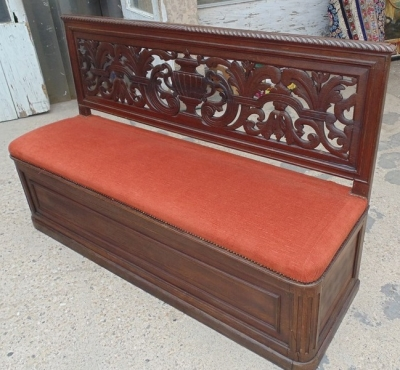 14D02023B FRENCH CARVED UPHOLSTERED BENCH INTERIOR