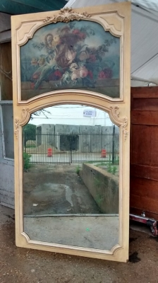 15E19026  PAINTED TRUMEAU MIRROR WITH FLORAL PAINTING (1).jpg