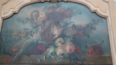15E19026  PAINTED TRUMEAU MIRROR WITH FLORAL PAINTING (3).jpg