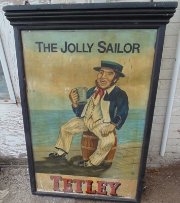 14D02003 TETLY THE JOLLY SAILOR DOUBLE SIDED PUB SIGN