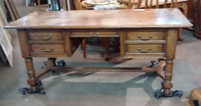 15E19019 LARGE WALNUT DESK WITH SHELL CARVING (1).jpg