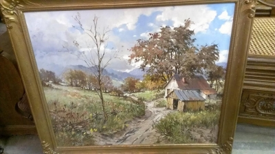 FRAMED RUSTC BARN OIL PAINTING.jpg