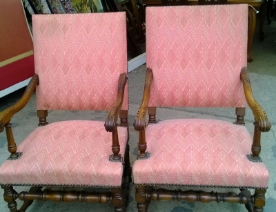 14D02015 PAIR OF LOUIS XIII STYLE ARM CHAIRS