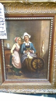SMALL OIL PAINTING OF LADIES AND A SPINNING WHEEL.jpg