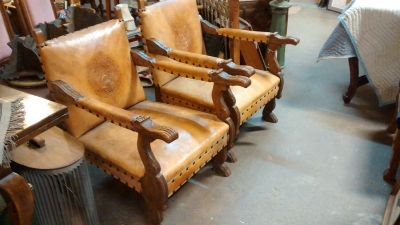 36-85729 PAIR OF CARVED OAK LEATHER COVERED CHAIRS.jpg