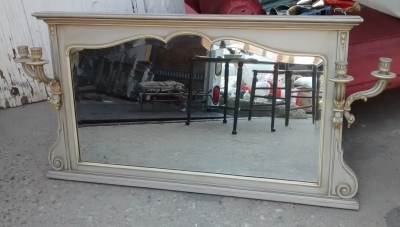 15F04 BEVELED GLASS MIRROR WITH SCONCES.jpg