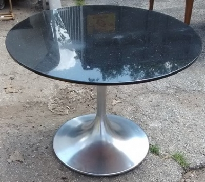 15F04 ONE OF TWO GRANITE AND STAINLESS STEEL PUB TABLES (1).jpg