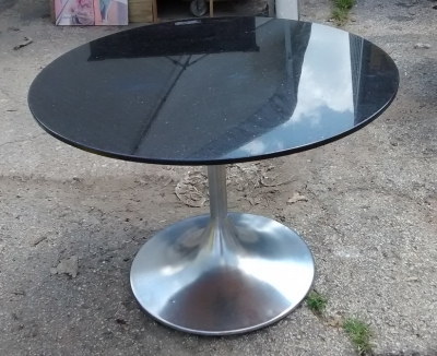 15F04 ONE OF TWO GRANITE AND STAINLESS STEEL PUB TABLES (3).jpg