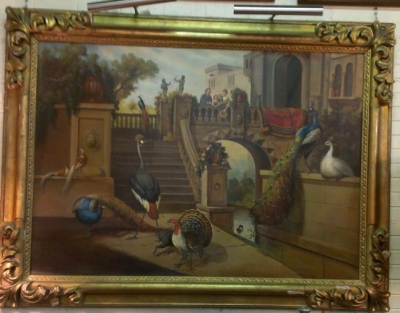 14D01578 LARGE OIL PAINTING IN FANCY FRAME