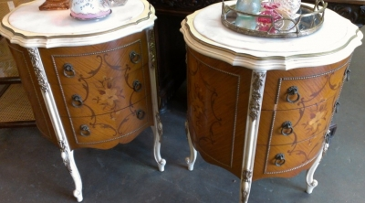14D015  PAIR FRENCH STYLE INLAYED ROUND CHESTS MARBLE AS IS