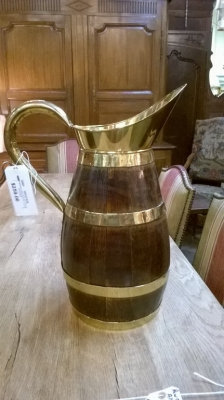 15F27326 LARGE BRASS BANDED WOOD PITCHER.jpg