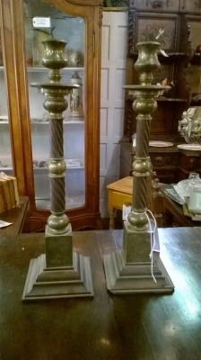 15G02505 PAIR OF TALL BRASS AND WOOD CANDLESTANDS.jpg