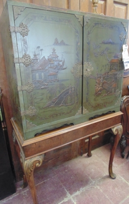 SOLD!   12K18008 1920\'S CHINOISERE CABINET  $695.00