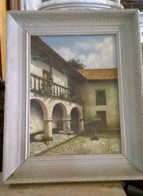 15G02553 SPANISH COURTYARD OIL PAINTING.jpg