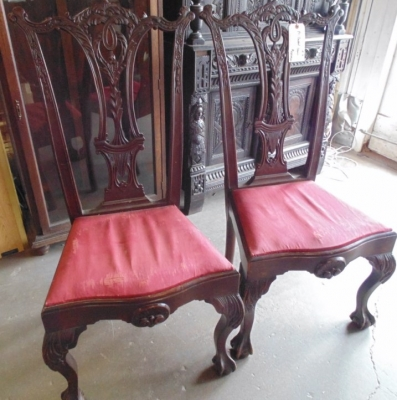 02 PAIR CHIPPENDALE CHAIRS (2)