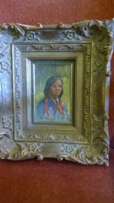 15G08 SMALL OIL PAINING OF INDIAN WOMAN.jpg