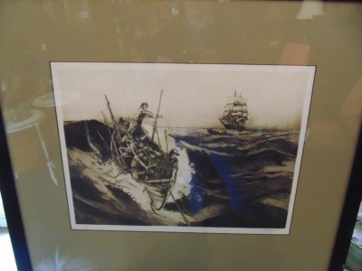 SET OF 4 WHALING PICTURES BY FRANKLIN MINT JACK CAUGHLIN - ORIGINAL ETCHINGS