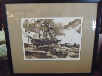 SET OF 4 WHALING PICTURES BY FRANKLIN MINT JACK CAUGHLIN - ORIGINAL ETCHINGSDSC08751