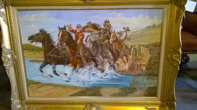 15G14 FRAMED OIL PAINTING OF CONFEDERATES CROSSING STREAM.jpg