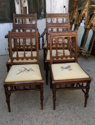 15G26015 SET OF 6 AMERICAN EASTLAKE CHAIRS WITH BIRD SEATS (1).jpg