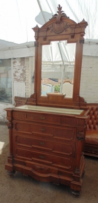 14D10006 ITALIAN WALNUT MIRRORED COMMODE  (9).JPG