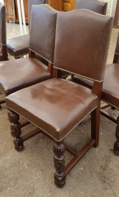 15I03 SET OF 6 TURNED LEG LEATHER CHAIRS (2).jpg