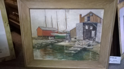 15I30 FRAMED SHIP YARDS OIL PAINTING.jpg