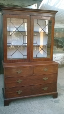 15J04116 GEORGIAN MAHOGANY AND GLASS BOOKCASE CUPBOARD (1).jpg