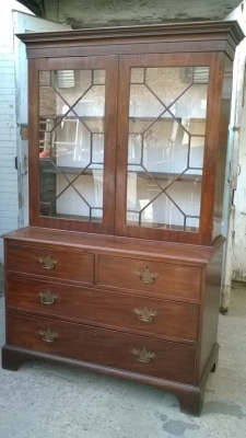 15J04116 GEORGIAN MAHOGANY AND GLASS BOOKCASE CUPBOARD (4).jpg