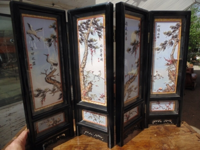 14D10015 SMALL TABLE TOP VINTAGE ASIAN SCREEN (2).jpg.JPG