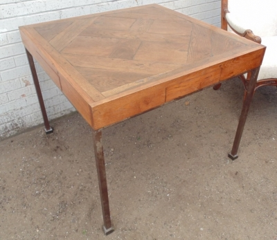 14D10019 PARQUETRY TOP AND STEEL LEG GAME TABLE  (2).JPG