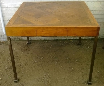 14D10019 PARQUETRY TOP AND STEEL LEG GAME TABLE  (5).jpg