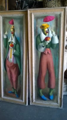 15J18 PAIR OF SIGNED CLOWN OIL PAINTINGS (1).jpg