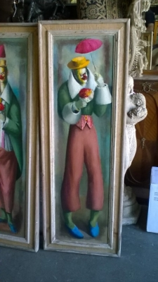 15J18 PAIR OF SIGNED CLOWN OIL PAINTINGS (2).jpg