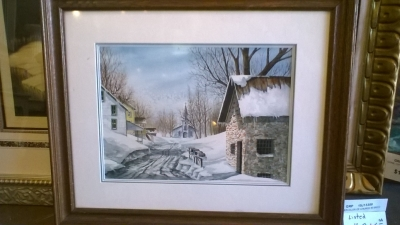 15J12 SIGNED WATER COLOR OF CHURCH IN SNOW (1).jpg