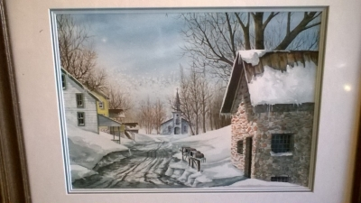 15J12 SIGNED WATER COLOR OF CHURCH IN SNOW (2).jpg