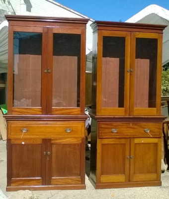 15J24 PAIR OF MAHOGANY BOOKCASES OR CHINA CABINETS (SHELVES NOT SHOWN) (1).jpg