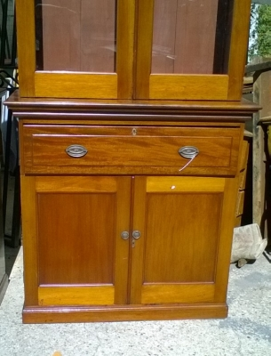 15J24 PAIR OF MAHOGANY BOOKCASES OR CHINA CABINETS (SHELVES NOT SHOWN) (3).jpg