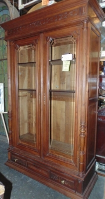 13J17004 WALNUT TURN OF THE CENTURY BOOKCASE (1).JPG