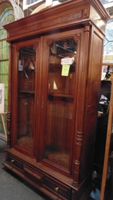 13J17004 WALNUT TURN OF THE CENTURY BOOKCASE (4).JPG