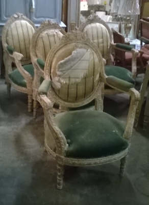 15K11 SET OF 4 LOUIS XVI PAINTED ARM CHAIRS (1).jpg